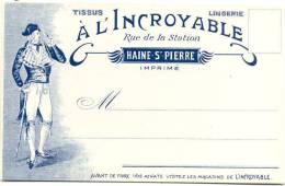 HAINE-ST.PIERRE-CARTE PUBLICITAIRE ILLUSTREE-TISSUS A L´INCROYABLE-CARTE VIERGE - La Louvière