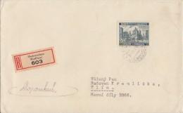 Böhmen & Mähren R-Brief EF Minr.59 Moderschan 29.9.42 Vignette - Storia Postale