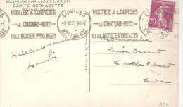 VISITEZ LOURDES - LE CHATEAU FORT - ET LE MUSEE DES PYRENEES Sur 190 Du 3 VII 35 - Marcophilie (Lettres)
