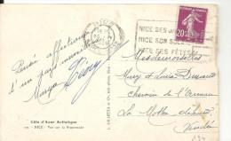 NICE SES JARDINS-SON SOLEIL -  SES FETES Sur N°190 De 1936 - Marcophilie (Lettres)