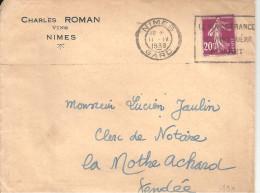 LE VIN DE FRANCE NOURRIT GUERIT REJOUIT Sur N°190 De NIMES De 1938 - Marcophilie (Lettres)