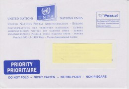 United Nations Envelope Vienna Postage Paid - Centre International De Vienne