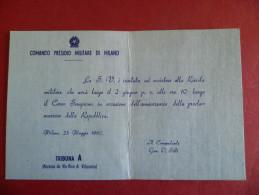 Comando Presidio Militare Di Milano Invito Alla Rivista Militare Corso Sempione 1960 Generale O.Silli TribunaA Lombardia - Faire-part