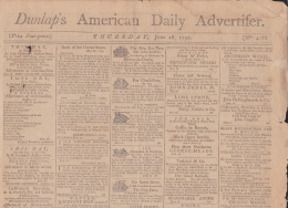 Philadelphia - Dunlap's American Daily Advertiser June 28, 1792 (N° 4188) ; Four Pages (49,5 / 30 Cm) - 1700-1799
