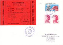 1341# LETTRE Obl 35 BETTON ILLE ET VILAINE 1987 BLEU VIOLET POSTELEC Obl RENNES - Postmark Collection (Covers)