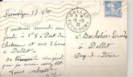 N° 237 Sur CP - CAD DALLET 18-10 32 -   CP De SAINCAIZE-le- GUETIN -La Gare - Marcophilie (Lettres)