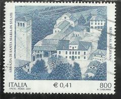 ITALIA REPUBBLICA ITALY REPUBLIC 2001 PATRIMONIO ARTISTICO E CULTURALE ABBAZIA DI SANTA MARIA IN SYLVIS USATO USED - 2001-10: Used