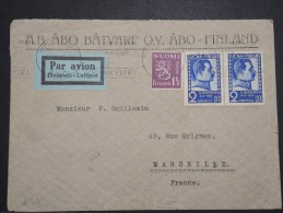 FINLANDE - Enveloppe Par Avion ( étiquette ) Pour Marseille En 1937 - Aff. Plaisant - A Voir - Lot P14563 - Cartas