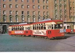 Nº 15 POSTAL DE UN TRANVIA DE BARCELONA EN PLAZA ESPAÑA  (COÑAC VALDESPINO)  (TREN-TRAIN-ZUG) AMICS DEL FERROCARRIL - Tranvía