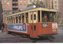 Nº 57 POSTAL DE UN TRANVIA DE BARCELONA EN P. SALVADOR ANGLADA AÑO 1963 (PHILIPS) (TREN-TRAIN-ZUG) AMICS DEL FERROCARRIL - Tranvía