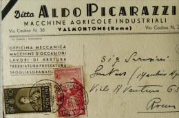 VALMONTONE ROMA - DITTA ALDO PICARAZZI MACCHINE AGRICOLE INDUSTRIALI OFFICINA MECCANICA LAVORI DI ARATURA TREBBIA 1938 - Autres Villes