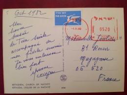 EMA Empreinte Mécanique Israel HALEA Par Avion Sur Cp BETHLEHEM - Briefe U. Dokumente