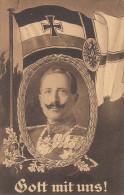 AK Kaiser Wilhelm II Im Eichenkranz Gott Mit Uns Gelaufen Bpst. Friedrichstadt-Schleswig 24.1.15 - Weltkrieg 1914-18