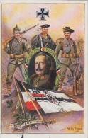 AK Kaiser Wilhelm II Im Eichenkranz,Soldaten, Fahnen Durch Kampf Zum Sieg Gel. Ostbevern - Weltkrieg 1914-18