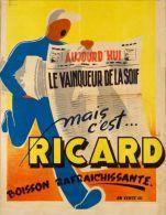 Postcard - Poster Reproduction - Ricard Boisson Rafraichissante 1950 - Publicité
