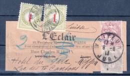 "TYPE BLANC : N° 107 Et 108 . BANDE DE JOURNAL . TAXÉE EN "" SUISSE "" . 1913 . - Zeitungsmarken (Streifbänder)"