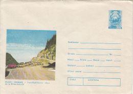 FAGARAS MOUNTAINS- THE TRANSFAGARASAN HIGH ROAD, CAR, COVER STATIONERY, ENTIER POSTAL, 1975, ROMANIA - Enteros Postales