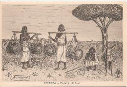 AFRICA - ERITREA -  WOMEN CARRYING HAY - SIGNED LOMBARDI - 1935 - Eritrea