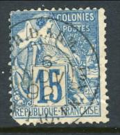 Colonie Francesi, Emis. Generali 1881 N. 51 C. 15 Azzurro Annullo Tondo COR D ARM LIG N PAQ FR N°1  Usato Su Piroscafo N - Alphee Dubois
