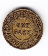 Metropolitan Transit Authority Fare Token - Monetary/Of Necessity