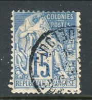 Colonie Francesi, Emissioni Generali 1881 N. 51 C. 15 Azzurro Usato Annullo (Guadaloupe) - Alphee Dubois