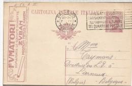 ITALIA ENTERO POSTAL CON PUBLICIDAD CIGARROS TABACO ZUBAN 1922 MAT PALERMO - Tabaco