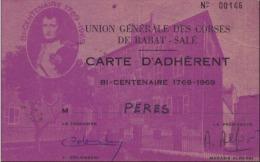 AJACCIO - CORSE - UNION GÉNÉRALE DES CORSES DE RABAT - SALÉ - CARTE D´ADHÉRENT BI CENTENAIRE 1769 - 1969 - BONAPARTE - Ajaccio