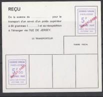 GREVE PARIS-JERSEY 1974 (ESSAI) RECU DE COLIS-DEUX EMPREINTES A 5F SURCHARGE  JERSEY-PARIS EN ROUGE - Strike Stamps