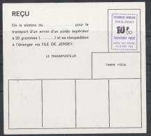 GREVE PARIS JERSEY 1974 (ESSAI)RECU DE COLIS AVEC UNE EMPREINTE A 5F SURCHARGEE 10F - Strike Stamps