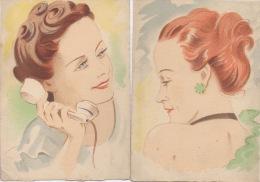 2 Cartes Postales- Portraits Dessins - Année 1943 - Papier Spécial - Postkaarten