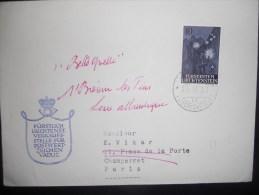 Liechtenstein Lettre De Vaduz 1958 Pour Paris - Liechtenstein