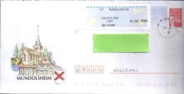 LOT  147  LETTRE ILLUSTREE  MUNDOLSHEIM  4/1/08  AVEC FLAMME  CONCORDANTE - Biglietto Postale