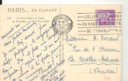 N°281 - COLLER LE TIMBRE.....sur CP De PARIS / Le Pont De Iéna Et Le Palais Du Trocadéro - 24-IV-1935 - Marcophilie (Lettres)
