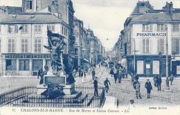 Chalons-sur-Marne (Marne) - Rue De Marne Et Statue Carnot - Carte LL N°42 Non Circulée - Châlons-sur-Marne