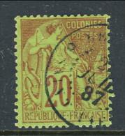 Colonie Francesi, Emissioni Generali 1881 N. 52 C. 20 Rosso Mattone Su Verde Annullo Saint Pierre-Reunion - Alphee Dubois