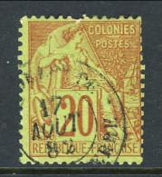 Colonie Francesi, Emissioni Generali 1881 N. 52 C. 20 Rosso Mattone Su Verde Basse Terre Guadeloupe - Alphee Dubois