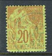Colonie Francesi, Emissioni Generali 1881 N. 52 C. 20 Rosso Mattone Su Verde Usato, Annullo A Data Azzurro - Alphee Dubois