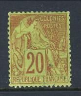 Colonie Francesi, Emissioni Generali 1881 N. 52 C. 20 Rosso Mattone Su Verde MLH - Alphee Dubois
