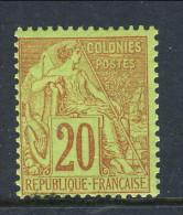 Colonie Francesi, Emissioni Generali 1881 N. 52 C. 20 Rosso Mattone Su Verde MH - Alphee Dubois