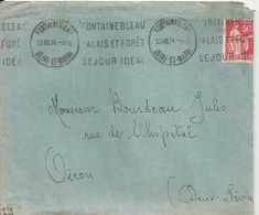 N°281 - FONTAINEBLEAU -PALAIS ET FORET - SEJOUR IDEAL - 13 VII 34 - Marcophilie (Lettres)