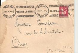 N°283 - POUR PARIS ET LYON METTRE LE N° DE L'ARRONDISSEMENT - Lettre De MELUN Du 11 IX 34 - Marcophilie (Lettres)