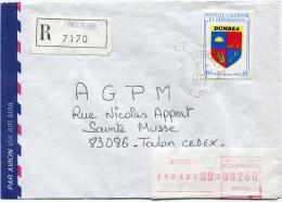 NOUVELLE-CALEDONIE LETTRE RECOMMANDEE PAR AVION DEPART BOURAIL 24-4-1989 POUR LA FRANCE - Nieuw-Caledonië