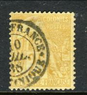 Colonie Francesi, Emissioni Generali 1881 N. 53 C. 25 Giallo Bistro Annullo Fort De France Martinique - Alphee Dubois