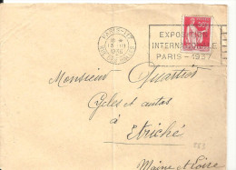 N°283 - EXPOSITION INTERNATIONALE PARIS - 1937 - 13 IIi 1937 - Marcophilie (Lettres)
