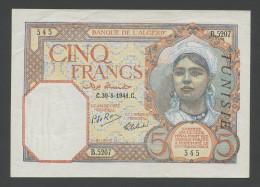 TUNISIA - 5 Francs  1941  P8b  Nice Very Fine+/TTB+ ( Banknotes ) - Tunisie