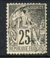 Colonie Francesi, Emissioni Generali 1881 N. 54 C. 25 Nero Su Rosa Usato - Alphee Dubois