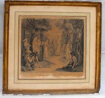 """Gravure Ancienne Encadrée """"Entrée De Bergers Aux Noces De Gamaches"""" - Engravings"""