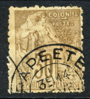 Colonie Francesi, Emissioni Generali 1881 N. 55 C. 30 Bruno Annullo Papeete - Océanie, Dentatura Irregolare - Alphee Dubois