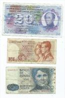 Lot 3 Billets -1 Suisse -  1 Espagnol - 1 Belge  ( 2 Scans) - Banknotes