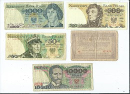 Lot 5 Billets De Pologne -  (2 Scans)- - Pologne